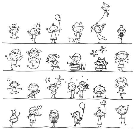 Illustration pour hand drawing cartoon happy kids playing  - image libre de droit