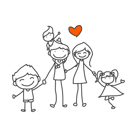 Photo for hand drawing cartoon happy family playing - Royalty Free Image