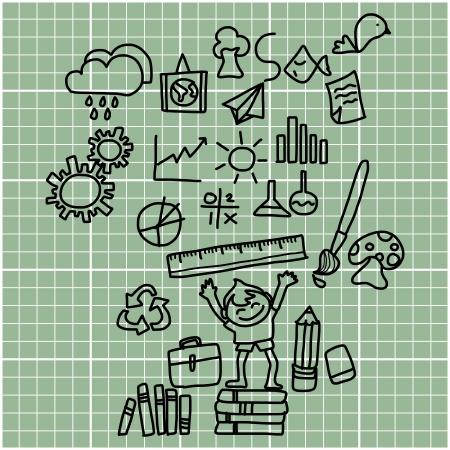 Ilustración de cartoon hand drawing back to school on graph paper - Imagen libre de derechos