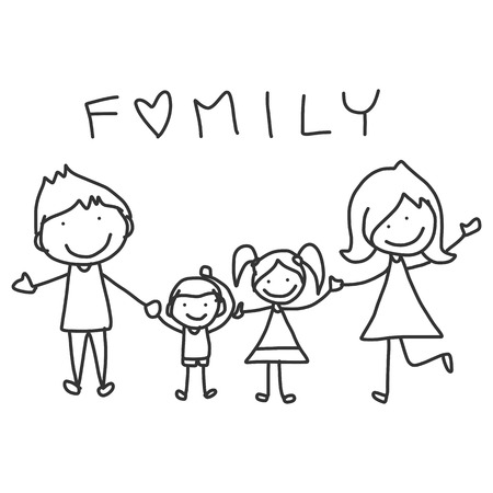 Photo for hand drawing cartoon happy family happy lives - Royalty Free Image