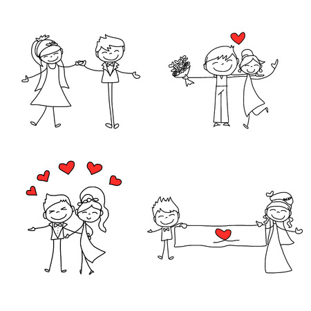Illustration for hand drawing cartoon character happy lovers wedding - Royalty Free Image