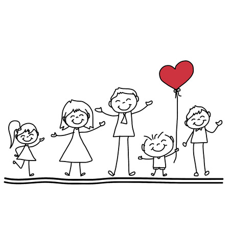 Illustration for hand drawing cartoon character happy family - Royalty Free Image