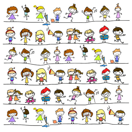 Photo for hand drawing cartoon abstract character happy people - Royalty Free Image