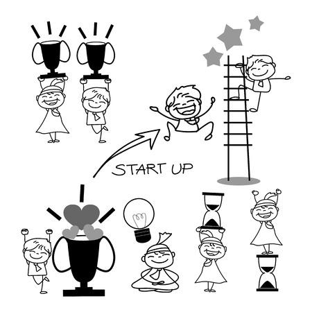 Ilustración de hand drawing cartoon business concept illustration - Imagen libre de derechos