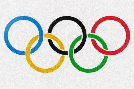 Photo for Olympic rings oil painting background - Royalty Free Image