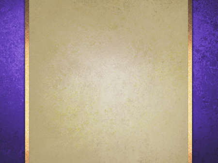 Foto de formal elegant light brown paper background with purple border and gold ribbon or stripe layers, has vintage distressed texture - Imagen libre de derechos