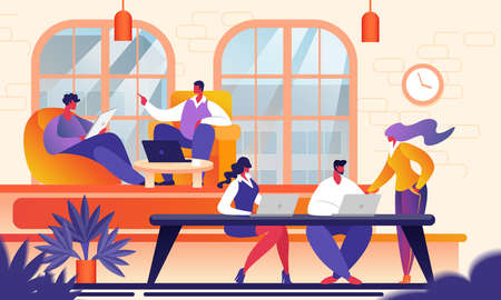 Illustrazione per Creative People in Modern Office. Group of Young Business People Working Together with Laptop, Tablet, Smartphone, Notebook. Successful Team in Coworking. Freelancers Cartoon Flat Vector Illustration. - Immagini Royalty Free