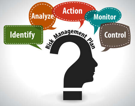 Illustrazione per thinking head question concept showing risk management - vector eps10 - Immagini Royalty Free