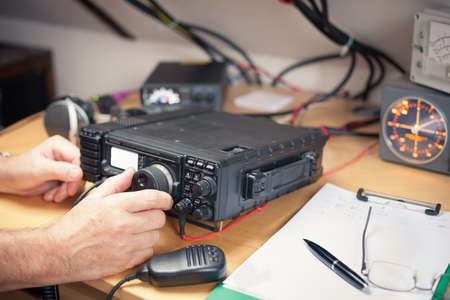 Photo for Amateur radio station: closeup of an a radio transciever - Royalty Free Image