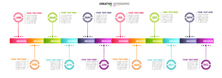 Ilustración de Year planer, 12 months, 1 year, Timeline infographics design vector and Presentation business can be used for Business concept with 12 options, steps or processes. - Imagen libre de derechos