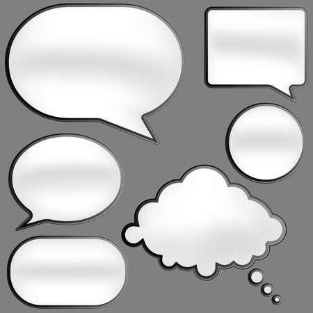 Illustration pour Glossy Speech Bubbles in Shades of Grey on White Background - image libre de droit
