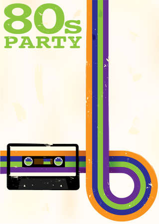 Photo for Retro Poster - 80s Party Flyer With Audio Cassette Tape - Royalty Free Image
