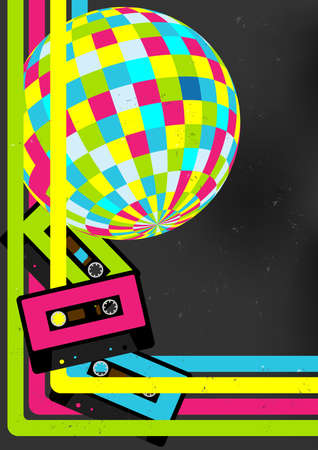 Photo for Retro Party Background - Retro Audio Cassette Tapes, Disco Ball and 80s Party Sign - Royalty Free Image