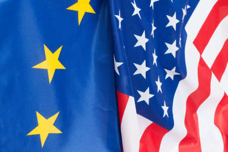 Photo for Closeup of Flags of USA and European Union - Royalty Free Image
