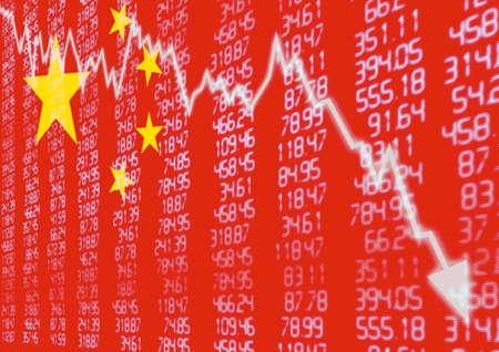 Foto de Chinese Stock Market - Arrow Graph Going Down on Red Chinese Flag - Imagen libre de derechos