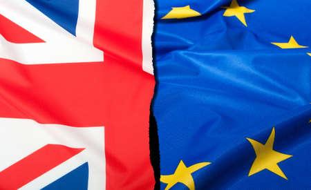 Foto de Brexit - Detail of Separated Silky Flags of European Union and United Kingdom - Imagen libre de derechos