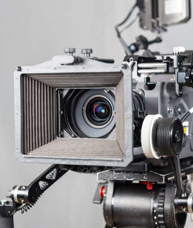 Photo for close up of an expensive cinema camera with accesories - Royalty Free Image