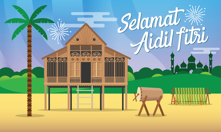 Illustration for Selamat hari raya aidil fitri greeting card in flat style vector   illustration with traditional malay village house / Kampung,mosque,  drum and lamang on background. - Royalty Free Image