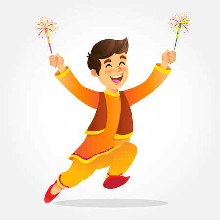Illustration pour Cute cartoon indian boy in traditional clothes jumping and playing with firecracker celebrating  the festival of lights Diwali or Deepavali isolated on white background - image libre de droit