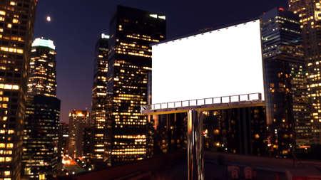 Foto de illustration of billboard in twilight with night city - Imagen libre de derechos