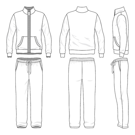 Illustrazione per Blank men's track suit in front, back and side views. Vector illustration. Isolated on white. - Immagini Royalty Free