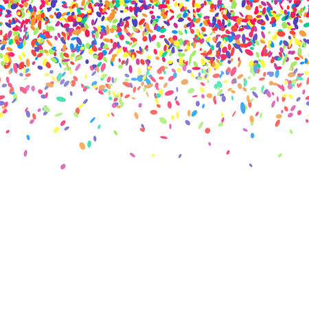 Illustration pour Abstract background with colorful confetti. Vector illustration of many falling sprinkles. Seamless border pattern. Isolated on white. - image libre de droit