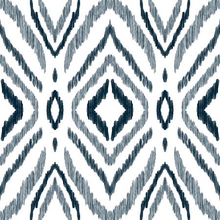 Photo for Black and white ikat tribal textile modern pattern. Seamless background. Graphic design for cover, rug, carpet, wallpaper, clothing, wrapping, fabric. Vector illustration. - Royalty Free Image