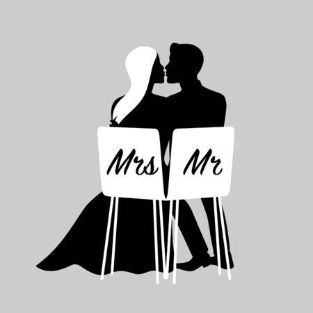 Foto de Silhouettes of kissing loving couple. Vector illustration of bride and groom for wedding invitation. - Imagen libre de derechos