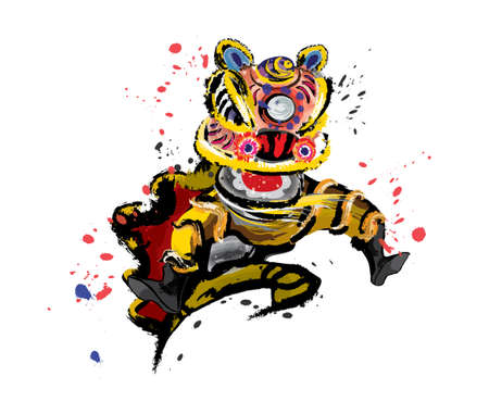 Illustration pour An isolated jumping Chinese lion in various colors and presented in splashing ink drawing style. Vector. - image libre de droit