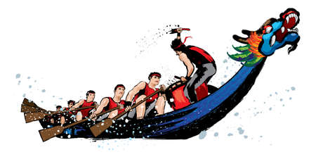 Ilustración de Vector of dragon boat racing during Chinese dragon boat festival. Ink splash effect makes it looks more powerful, full energy and spirit! - Imagen libre de derechos