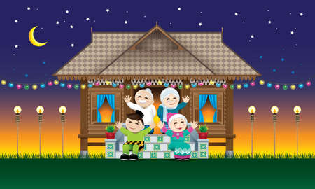 Illustration for A Muslim family celebrating Raya festival in their traditional Malay style house.  With village evening's scene. - Royalty Free Image