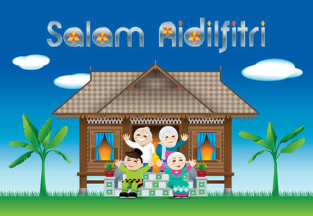 Illustration for A Muslim family celebrating Raya festival in their traditional Malay style house.  The words Salam Aidilfitri means happy Hari Raya. - Royalty Free Image