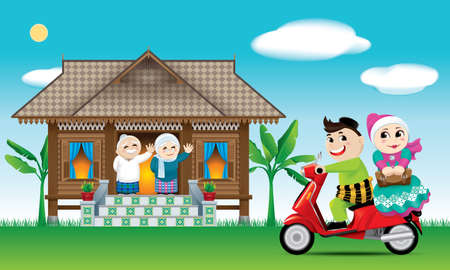 Illustration for A couples is just arrive their home town, ready to celebrate Raya festival with their parents.  The words - Royalty Free Image