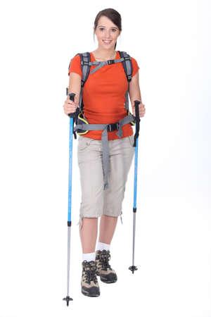 Woman preparing to go hiking