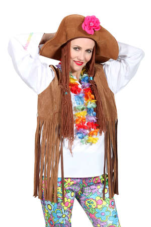 Hippie woman disguised