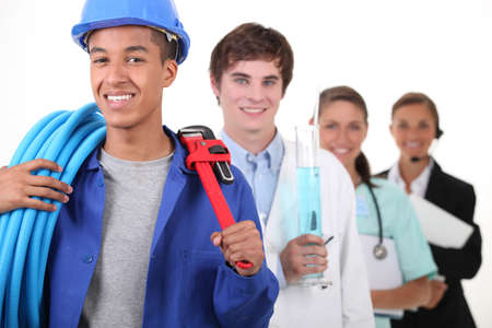 Photo for Four different professions with focus on plumber - Royalty Free Image