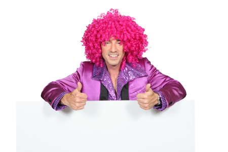 Man with a pink wig