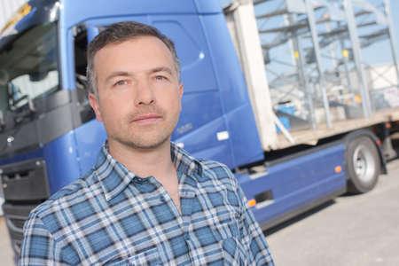 Photo pour lorry driver posing - image libre de droit