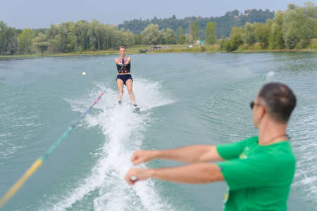 Photo for young woman water skiing - Royalty Free Image