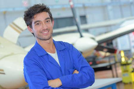 Photo pour young aircraft assembling staff - image libre de droit