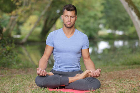 Photo for man yoga outdoors concept - Royalty Free Image