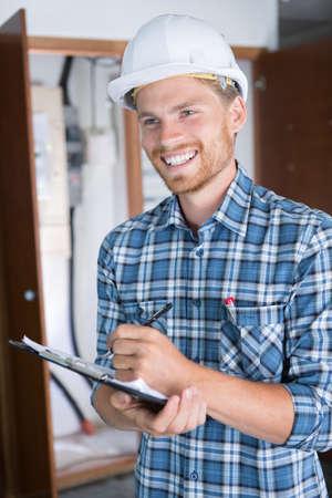 Photo pour young handsome construction manager - image libre de droit