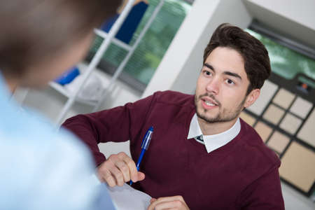 Photo pour young man in an interview - image libre de droit