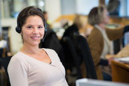 Photo pour woman with headset - image libre de droit