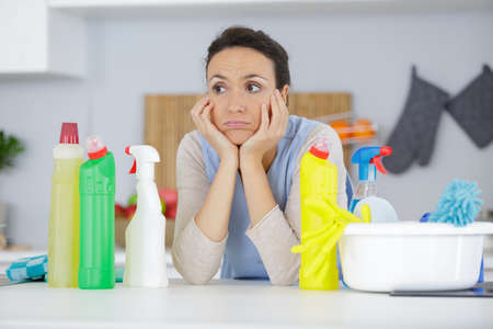 Photo pour An unhappy cleaner has not finished work - image libre de droit