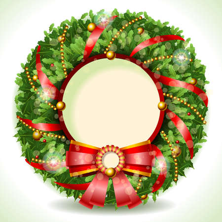 Illustration pour Detailed illustration of a Wreath Christmas with Red Ribbon with Copyspace - image libre de droit