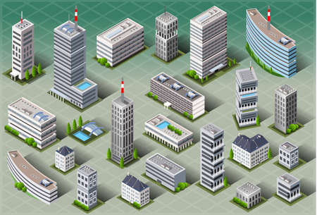 Illustrazione per Detailed illustration of a Isometric European Buildings - Immagini Royalty Free
