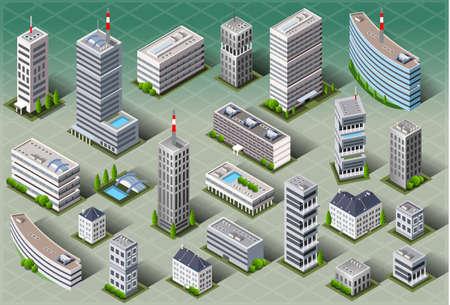 Illustration pour Detailed illustration of a Isometric European Buildings - image libre de droit
