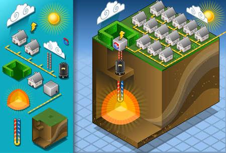 Ilustración de detailed illustration of a Isometric Geothermal Heat Pump Diagram with magma - Imagen libre de derechos
