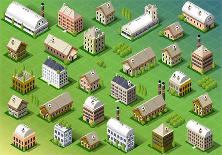 Ilustración de Detailed illustration of a Set of Isometric Building in Spring - Imagen libre de derechos